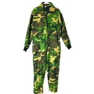 Camo Coveralls One piece Green Tan Insulated Mens